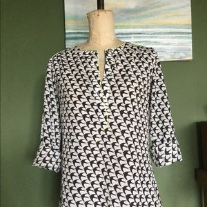 Blackbird Print Long Sleeve Tunic BANANA REPUBLIC